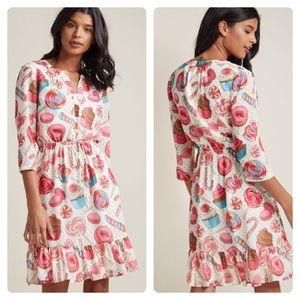 ModCloth Chiffon Shirt Dress Ruffle Hem in Sweets